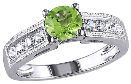 Other 1 38 Ct Tgw White Sapphire Peridot Fashion Ring In Sterling Silver