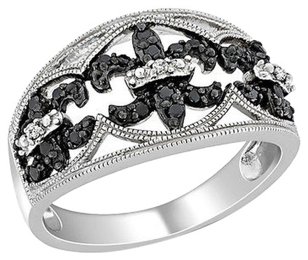 Other Sterling Silver 14 Ct Tw Black And White Diamond Fashion Ring I3
