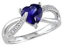 Sterling Silver 2 Ct Diamond Blue Sapphire Swivel Crossover Heart Love Ring