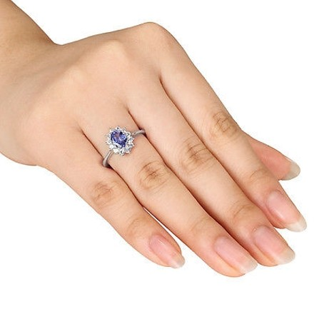 Other 1 14 Ct Tgw Tanzanite White Sapphire Cluster Fashion Ring In Sterling Silver