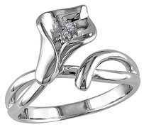 Sterling Silver Diamond Calla Lily Flower Ring Gh I1i2