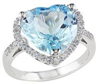 Other Sterling Silver 7 25 Ct Sky Blue Topaz White Topaz Heart Love Cocktail Ring