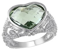 Other Sterling Silver 5 Ct Green Amethyst Heart Love Fashion Cocktail Ring