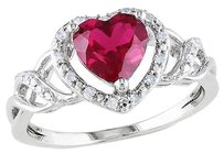 Other Sterling Silver 110 Ct Diamond And 1 58 Ct Ruby Heart Cocktail Ring Gh I2i3