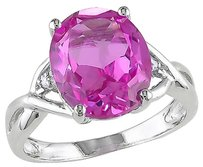 7.5 Ct Tw Diamond And Pink Sapphire Crossover Fashion Ring In Sterling Silver I3