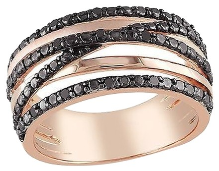 Other Pink Sterling Silver Black Diamond Cross Over Two-tone Fashion Ring 0.25 Ct Cttw