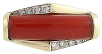 Other Contemporary Coral Diamond Ring - 18k Yellow White Gold Genuine .14ctw