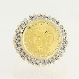 Cook Island Coin Ring - 10k Yellow White Gold .999 Gold Coin Dias. .33ctw