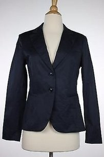 Cour Carre Womens Black Solid Blazer Long Sleeve Cotton Blend