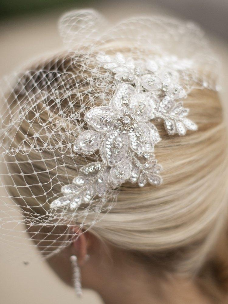 White Birdcage Couture French Net with Swarovski Lace Applique Bridal Veil 41% off retail