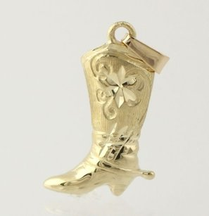 Cow Girl Boot Shaped Pendant - 14k Yellow Gold Womens Fine Estate Barn Fashion