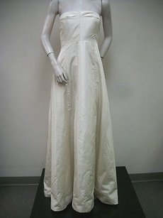 J. Crew Ivory Strapless Wedding Dress Gown Pleated Bust 100 Silk