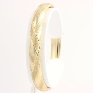 Criss Cross Bangle - 10k Yellow Gold Womens Polished Textured Fine Estate Weave