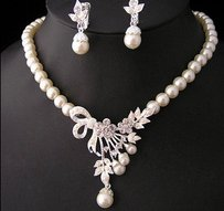 Crystal Pearl Silver Plated Necklace&earrings Wedding Party Bridal