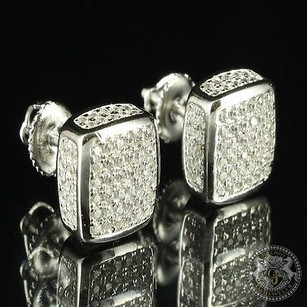 Cube Design Elegant Lab Diamond White Sterling Silver Gold Finish Earring Studs