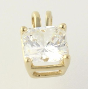 Other Cubic Zirconia Pendant - 14k Yellow Gold Solitaire Polished Womens Fashion Cz