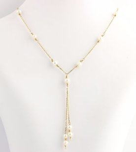 Other Cultured Pearl Cable Chain Necklace - 14k Yellow Gold Dangle Estate Drop 15.5