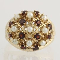 Cultured Pearl Garnet Cocktail Ring - 14k Yellow Gold 34 Genuine .60ctw