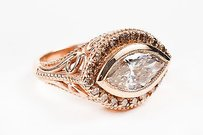 Custom 14k Rose Gold Diamond Marquise Engagement Ring