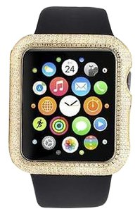 Custom Apple I-watch Sports 42mm Black Rubber Strap Genuine Diamond Watch 2.0ct