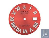 Custom Pave Set Diamond Red Dial For Rolex Datejust 41mm Watch 0.75 Ct