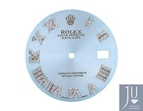 Custom Pave Set Diamond Sky Blue Dial For Rolex Datejust 41mm Watch 0.75 Ct