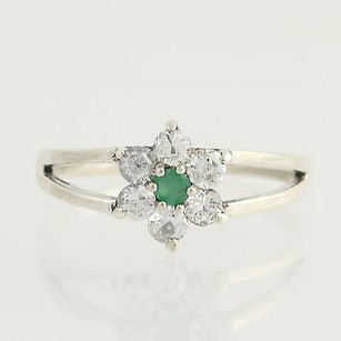 Cz Emerald Flower Ring - Sterling Silver Womens Clear Green Floral