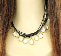 Other Designer 24k Gold Mother Of Pearl Black Leather Ladies Necklace