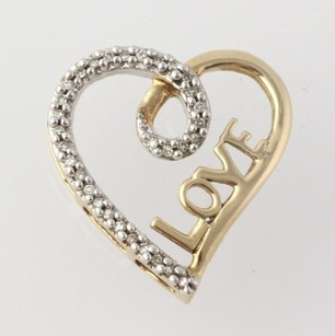 Other Diamond Accented Heart Pendant - 10k Yellow White Gold Love Womens Estate .10ct