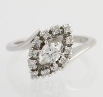 Other Diamond Bypass Cocktail Ring - 14k White Gold Leaf Womens Natural .48ctw
