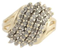 Diamond Cluster Bypass Ring - 14k Yellow Gold 12 Womens .75ctw