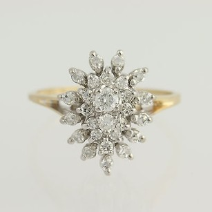 Diamond Cluster Cocktail Ring - 14k Yellow White Gold .50ctw