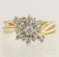 Diamond Cluster Cocktail Ring - 14k Yellow White Gold Genuine .60ctw