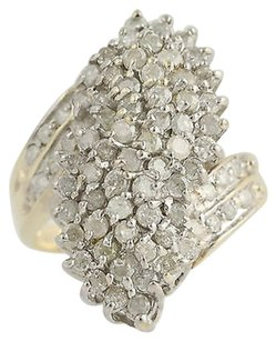 Diamond Cocktail Bypass Ring - 10k Yellow White Gold Cluster 2.00ctw