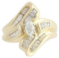 Diamond Cocktail Bypass Ring - 14k Yellow White Gold Marquise Cut Fine 1.00ctw
