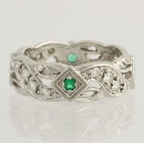 Diamond Emerald Cocktail Band- 18k White Gold Anniversary 14 Ring .56ctw