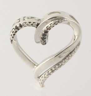 Other Diamond Heart Pendant - Sterling Silver 925 Womens Polished