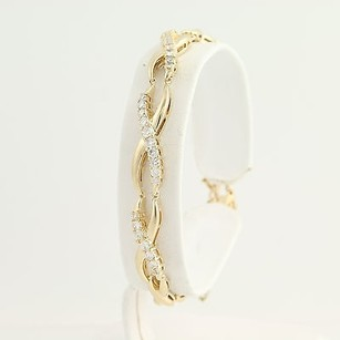 Diamond Link Bracelet 12 - 14k Yellow Gold Womens 1.00ctw