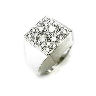 Diamond Mens Ring 115 Ct Diamond 221gr 14k White Gold