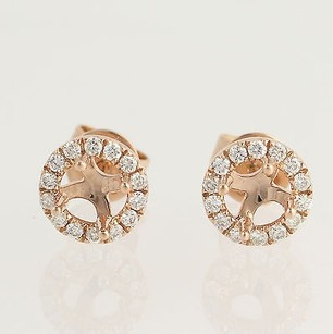 Other Diamond Stud Earring Semi-mounts - 14k Rose Gold 15ctw Halo Round Center