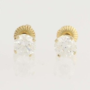 Diamond Stud Earrings - 14k Yellow Gold April Pierced Screw-on Closures 1.00ctw