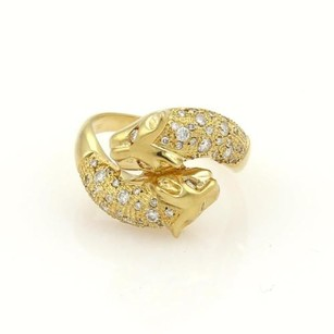 Diamonds 18k Yellow Gold Double Panther Head Bypass Ring
