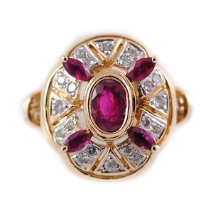 Diamonds Rubies Classic Design Ring 14k Yellow Gold Womens