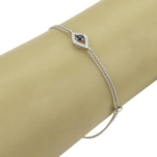 Diamonds Sapphire Evil Eye 18k White Gold Charm Double Link Chain Bracelet