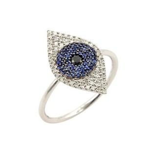 Other Diamonds Sapphire Evil Eye Wire Band Ring 14k White Gold -
