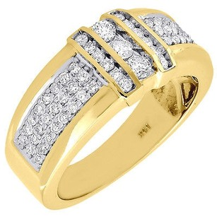 Diamond Wedding Band 14k Yellow Gold Round Cut Mens Engagement Ring 0.87 Ct.