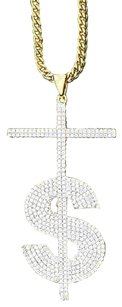 Dollar Sign Cross Pendant Chain Iced Out Lab Diamond 18k Yellow Gold Rapper Wear