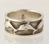 Dolphin Ring - Sterling Silver Band Solid 925 Beach Fashion 2-toned