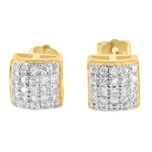 Dome Style Earrings Yellow Gold Finish Simulated Diamond 925 Silver