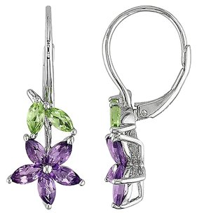 Other Sterling Silver 1 45 Ct Amethyst Peridot Flower Nature Leverback Drop Earrings
